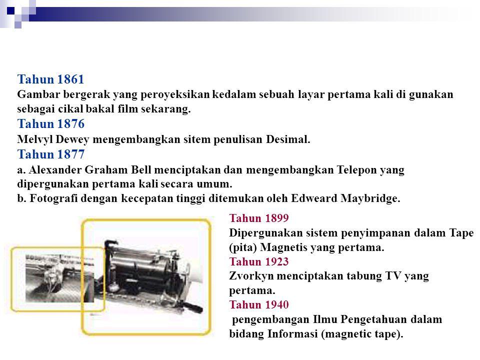 Tahun 1861 Gambar bergerak yang peroyeksikan kedalam sebuah layar pertama kali di gunakan sebagai cikal bakal film sekarang. Tahun 1876 Melvyl Dewey m