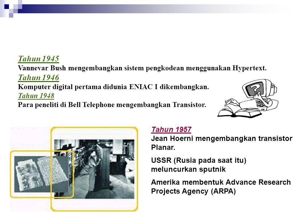 Tahun 1945 Vannevar Bush mengembangkan sistem pengkodean menggunakan Hypertext. Tahun 1946 Komputer digital pertama didunia ENIAC I dikembangkan. Tahu