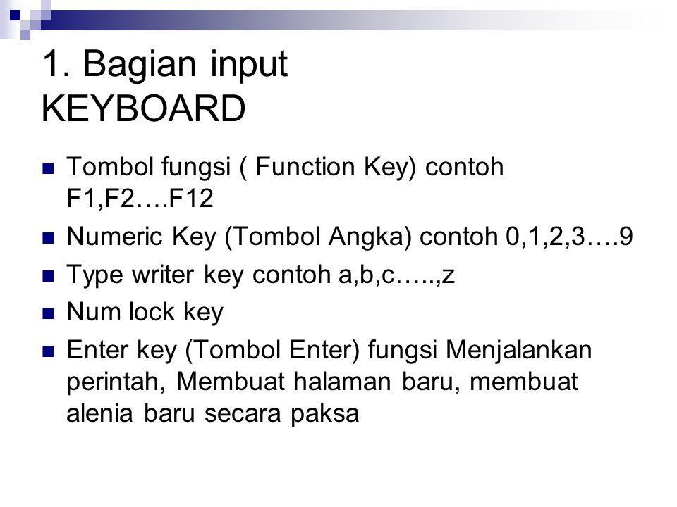1. Bagian input KEYBOARD Tombol fungsi ( Function Key) contoh F1,F2….F12 Numeric Key (Tombol Angka) contoh 0,1,2,3….9 Type writer key contoh a,b,c…..,