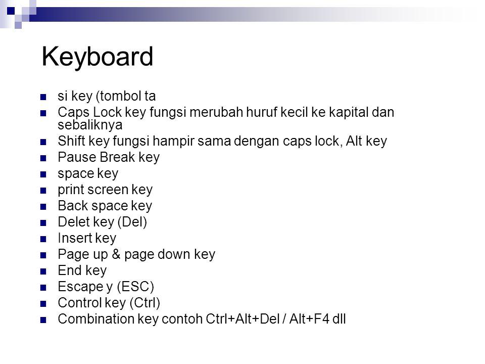 Keyboard si key (tombol ta Caps Lock key fungsi merubah huruf kecil ke kapital dan sebaliknya Shift key fungsi hampir sama dengan caps lock, Alt key P