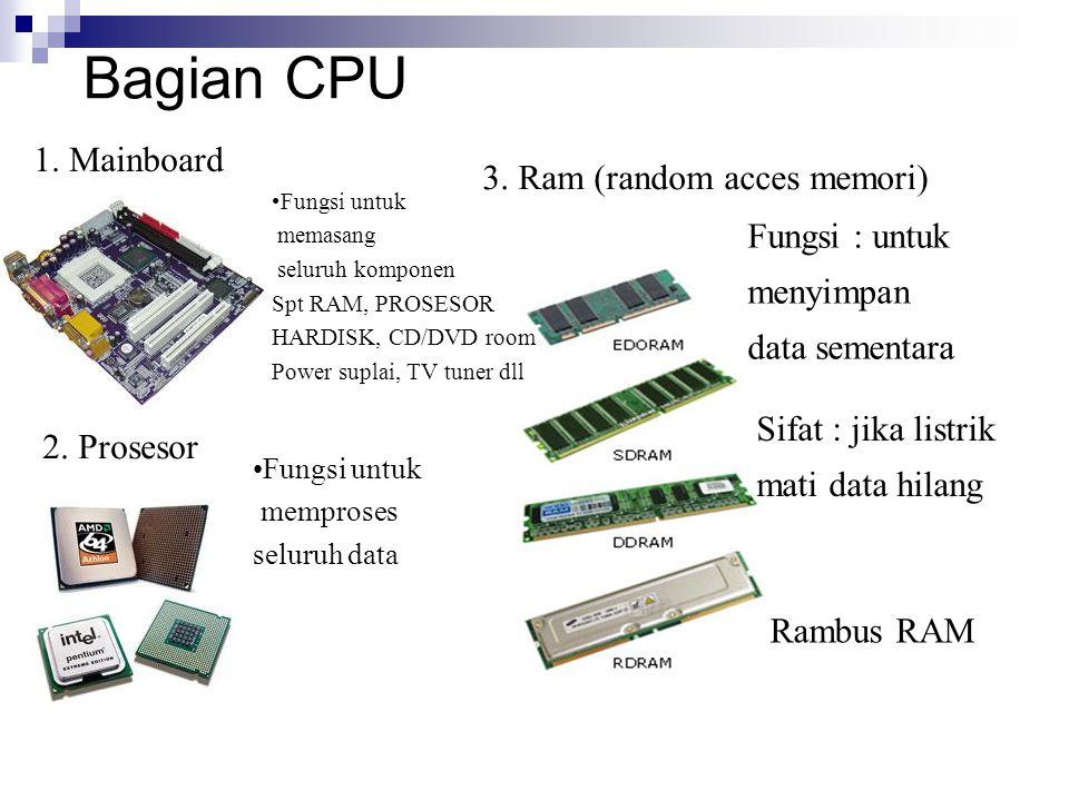 Bagian CPU 1. Mainboard 3. Ram (random acces memori) 2. Prosesor Rambus RAM Fungsi : untuk menyimpan data sementara Sifat : jika listrik mati data hil