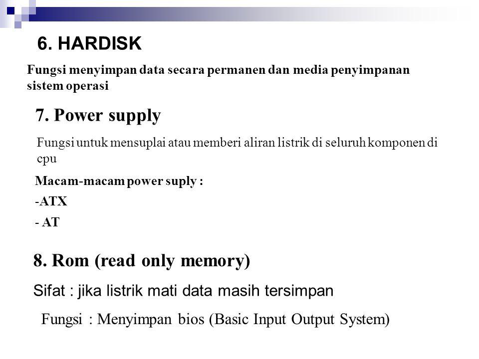 8. Rom (read only memory) Fungsi menyimpan data secara permanen dan media penyimpanan sistem operasi 7. Power supply Fungsi untuk mensuplai atau membe