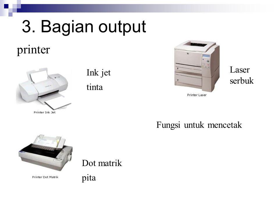 3. Bagian output printer Ink jet tinta Dot matrik pita Laser serbuk Fungsi untuk mencetak
