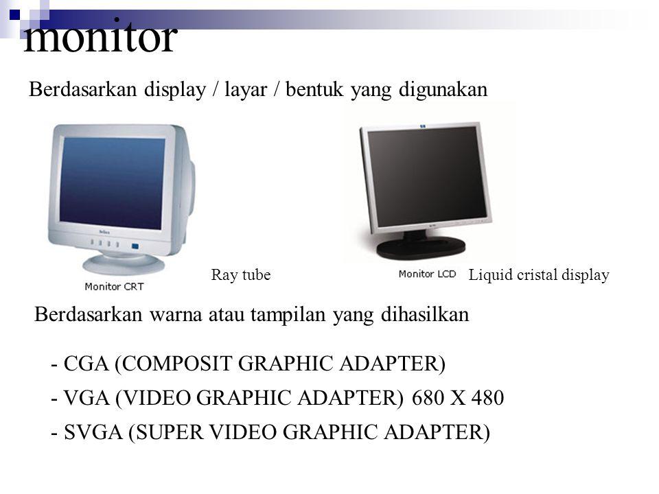 monitor Berdasarkan display / layar / bentuk yang digunakan Berdasarkan warna atau tampilan yang dihasilkan - CGA (COMPOSIT GRAPHIC ADAPTER) - VGA (VI