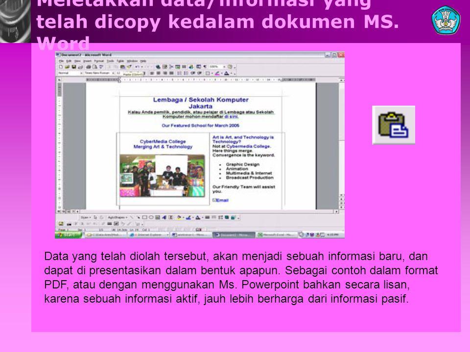 Meletakkan data/informasi yang telah dicopy kedalam dokumen MS.
