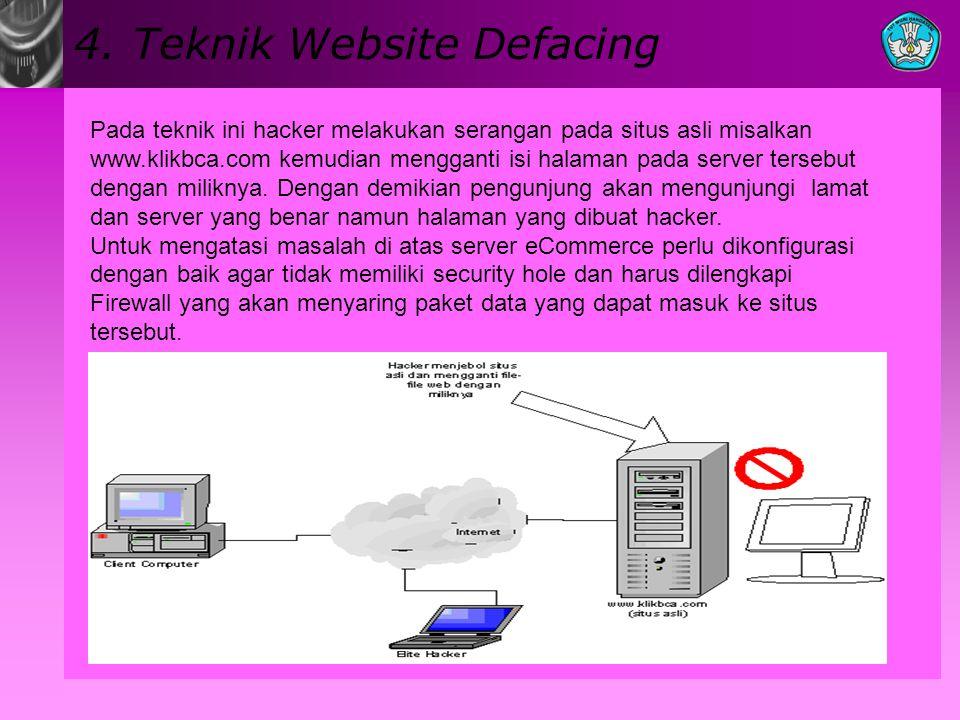 4. Teknik Website Defacing Pada teknik ini hacker melakukan serangan pada situs asli misalkan www.klikbca.com kemudian mengganti isi halaman pada serv