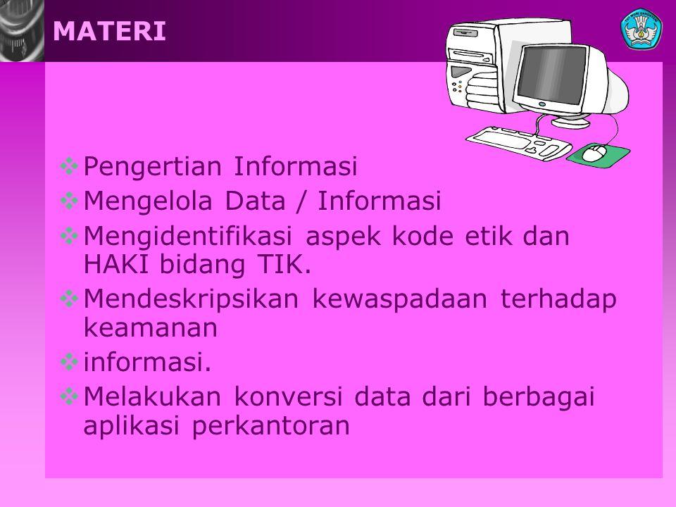MATERI  Pengertian Informasi  Mengelola Data / Informasi  Mengidentifikasi aspek kode etik dan HAKI bidang TIK.