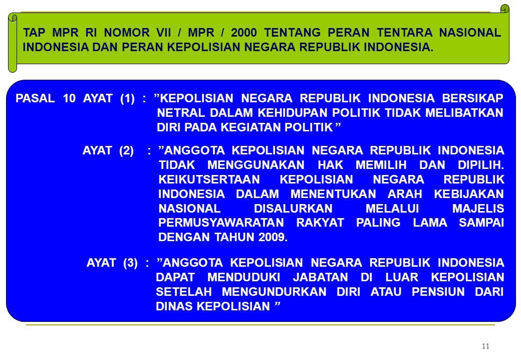 """11 AYAT (3) : """"ANGGOTA KEPOLISIAN NEGARA REPUBLIK INDONESIA DAPAT MENDUDUKI JABATAN DI LUAR KEPOLISIAN SETELAH MENGUNDURKAN DIRI ATAU PENSIUN DARI DIN"""