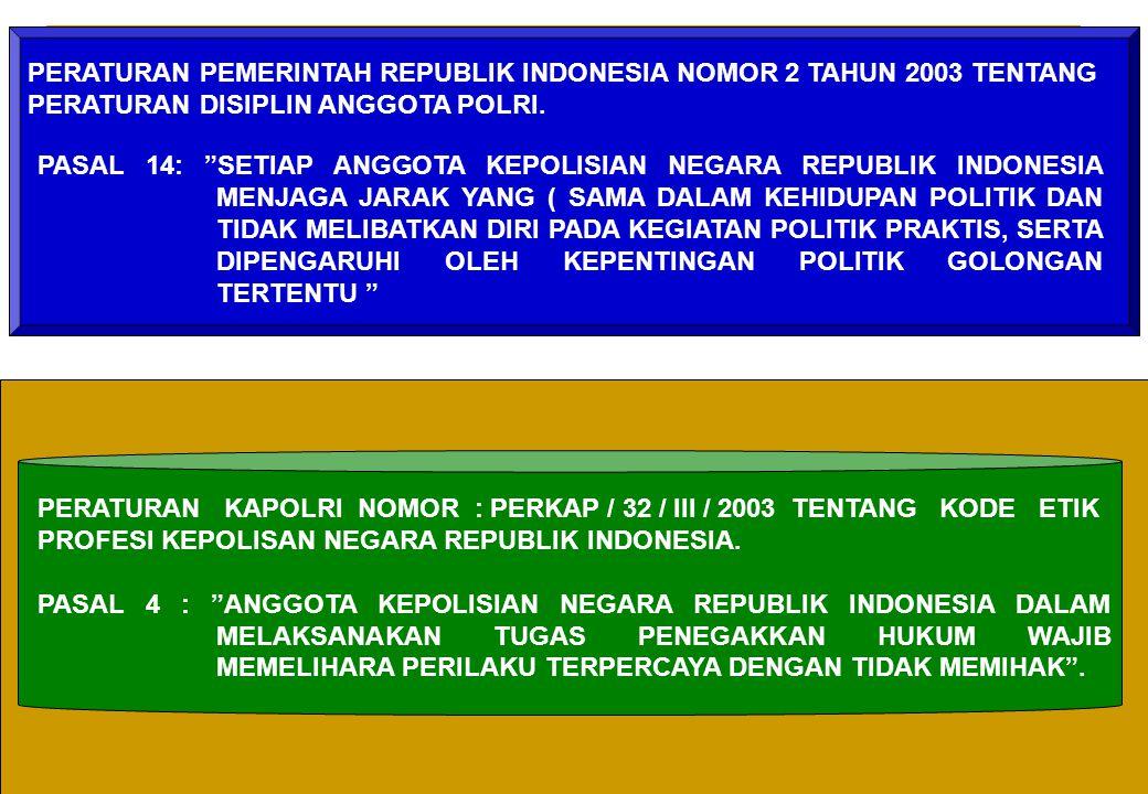 """13 PASAL 14: """"SETIAP ANGGOTA KEPOLISIAN NEGARA REPUBLIK INDONESIA MENJAGA JARAK YANG ( SAMA DALAM KEHIDUPAN POLITIK DAN TIDAK MELIBATKAN DIRI PADA KEG"""