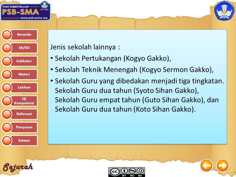 Sejarah Jenis sekolah lainnya : Sekolah Pertukangan (Kogyo Gakko), Sekolah Teknik Menengah (Kogyo Sermon Gakko), Sekolah Guru yang dibedakan menjadi t