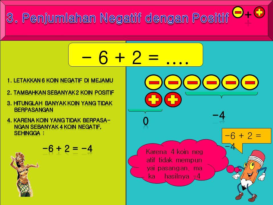 Karena 4 koin neg atif tidak mempun yai pasangan, ma ka hasilnya -4 - 6 + 2 =.... -6 + 2 = -4