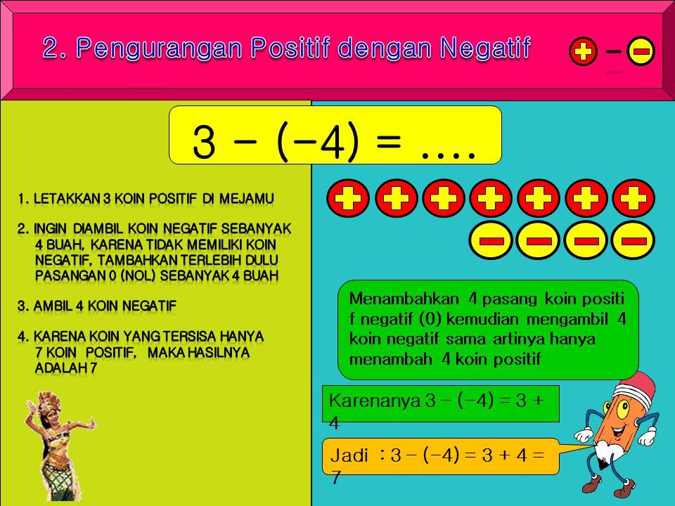 3 - (-4) =.... Menambahkan 4 pasang koin positi f negatif (0) kemudian mengambil 4 koin negatif sama artinya hanya menambah 4 koin positif Karenanya 3