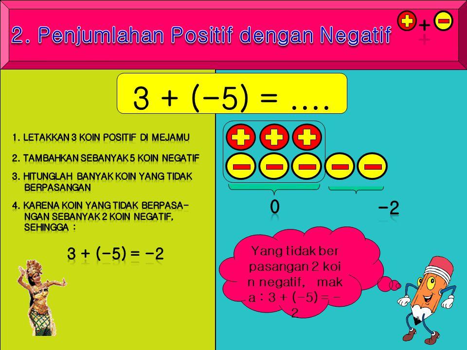 Yang tidak ber pasangan 2 koi n negatif, mak a : 3 + (-5) = - 2 3 + (-5) =....