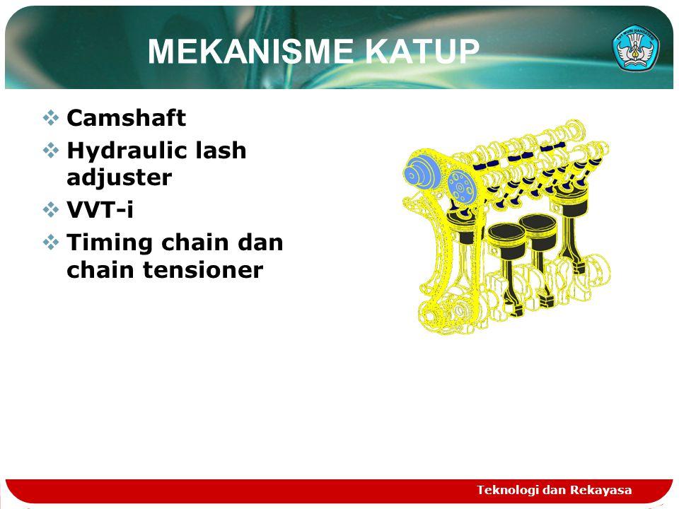 Teknologi dan Rekayasa CAMSHAFT SSaluran oli disediakan pada camshaft untuk memberikan tekanan oli ke sistem VVT-i VVVT-i controller dipasang dibagian depan camshaft intake untuk merubah timing camshaft intake