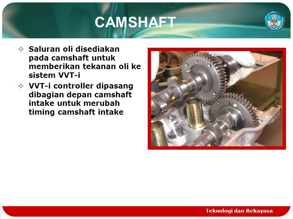 Teknologi dan Rekayasa CAMSHAFT SSaluran oli disediakan pada camshaft untuk memberikan tekanan oli ke sistem VVT-i VVVT-i controller dipasang diba