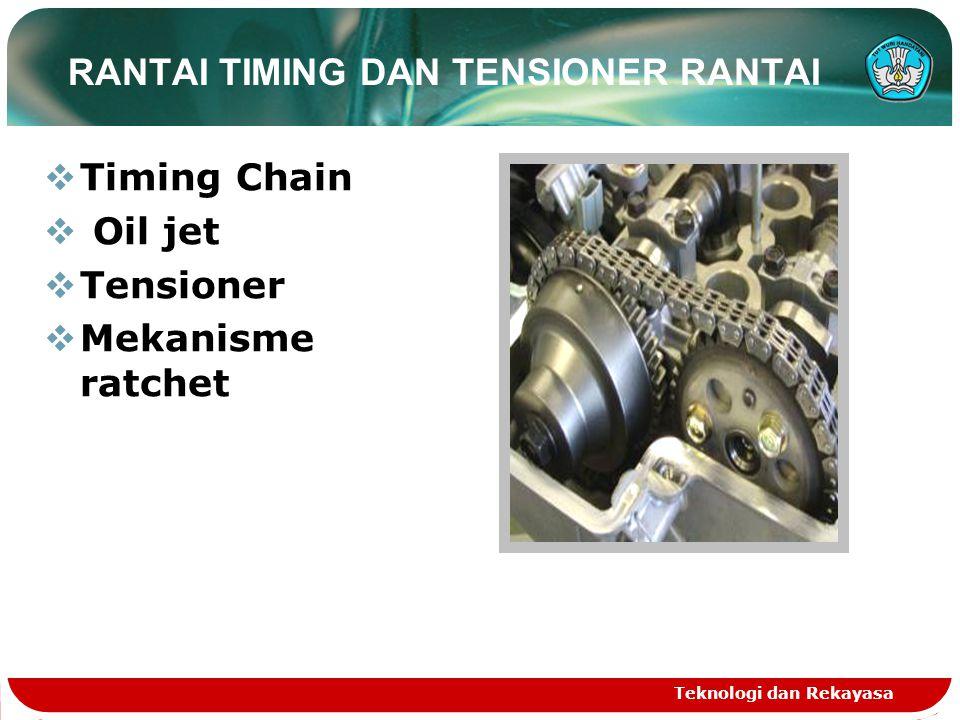 Teknologi dan Rekayasa TUTUP RANTAI TIMING Komponen-komponen berikut disatukan dengan tutup rantai timing untuk mengurangi jumlah komponen.
