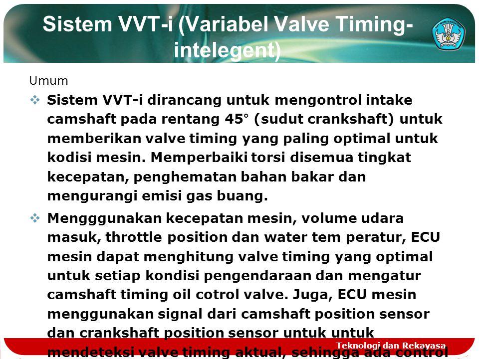 Teknologi dan Rekayasa Sistem VVT-i (Variabel Valve Timing- intelegent) Umum SSistem VVT-i dirancang untuk mengontrol intake camshaft pada rentang 4