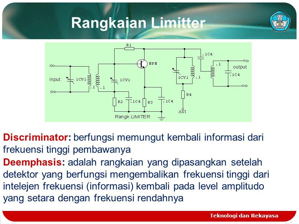 Rangkaian Limitter Teknologi dan Rekayasa Discriminator: berfungsi memungut kembali informasi dari frekuensi tinggi pembawanya Deemphasis: adalah rang