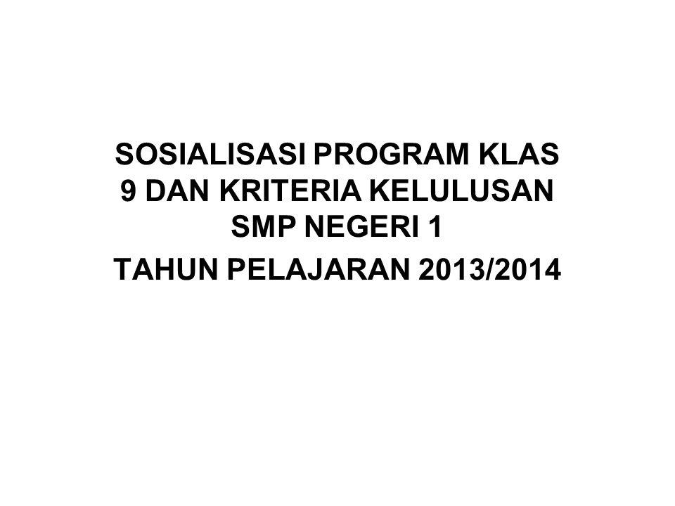 SOSIALISASI PROGRAM KLAS 9 DAN KRITERIA KELULUSAN SMP NEGERI 1 TAHUN PELAJARAN 2013/2014