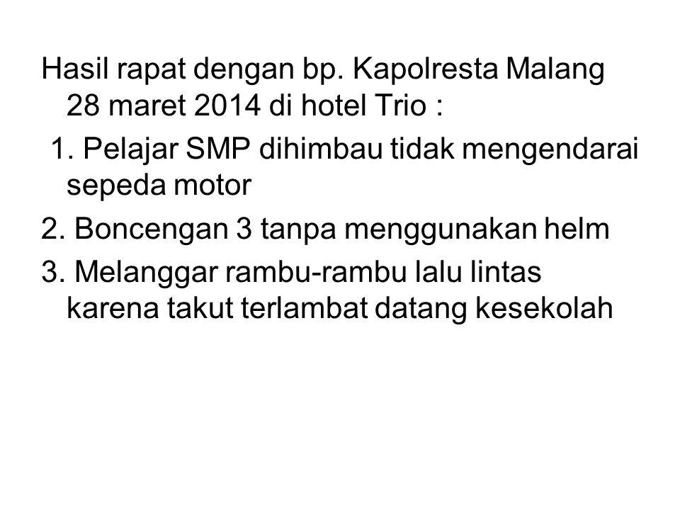 Hasil rapat dengan bp. Kapolresta Malang 28 maret 2014 di hotel Trio : 1. Pelajar SMP dihimbau tidak mengendarai sepeda motor 2. Boncengan 3 tanpa men