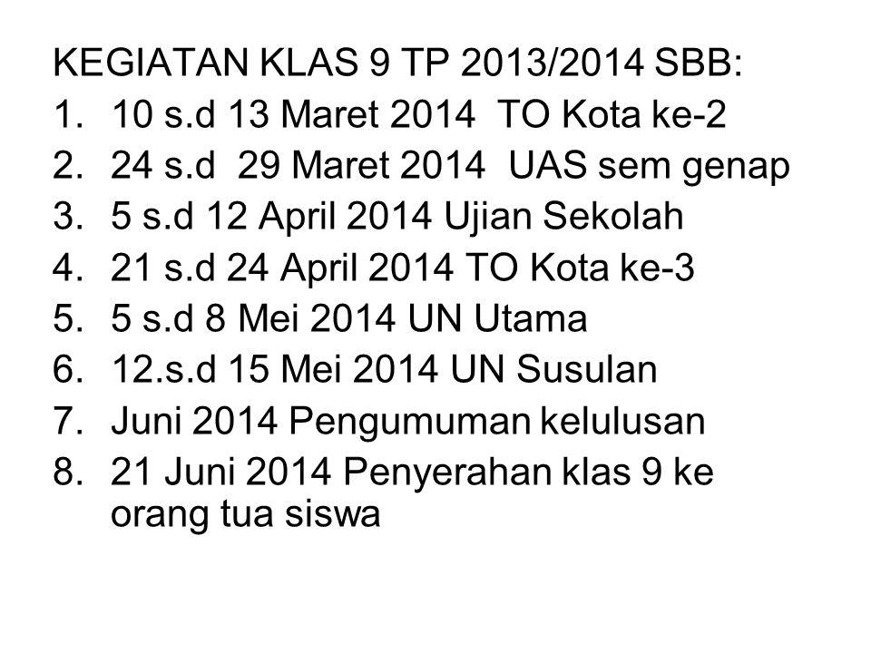 KEGIATAN KLAS 9 TP 2013/2014 SBB: 1.10 s.d 13 Maret 2014 TO Kota ke-2 2.24 s.d 29 Maret 2014 UAS sem genap 3.5 s.d 12 April 2014 Ujian Sekolah 4.21 s.