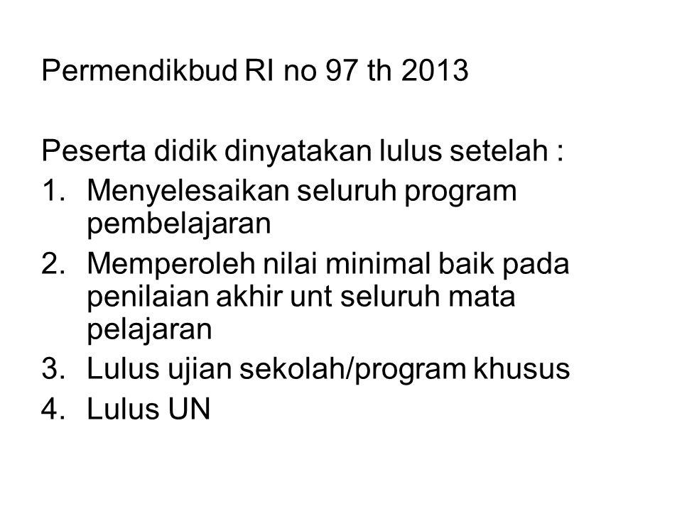 Permendikbud RI no 97 th 2013 Peserta didik dinyatakan lulus setelah : 1.Menyelesaikan seluruh program pembelajaran 2.Memperoleh nilai minimal baik pa