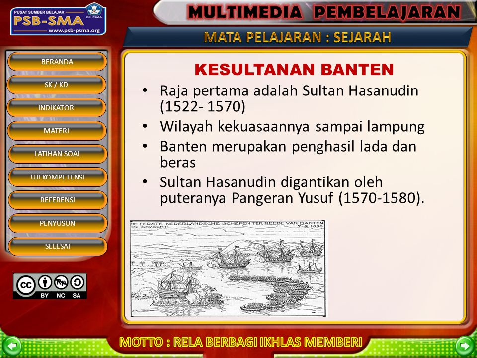 BERANDA SK / KD INDIKATOR MATERI REFERENSI PENYUSUN SELESAI LATIHAN SOAL UJI KOMPETENSI KESULTANAN CIREBON Didirikan oleh Syarifhidayatullah Raja-raja Cirebon: a.Pangeran Ratu (Panembahan Yusuf) b.Panembahan Girilaya (1650-1662) c.