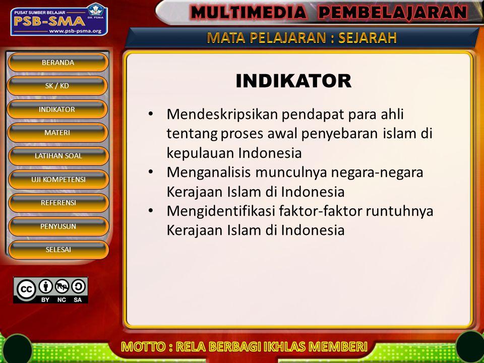 BERANDA SK / KD INDIKATOR MATERI REFERENSI PENYUSUN SELESAI LATIHAN SOAL UJI KOMPETENSI Latar belakang keruntuhan kerajaan Malaka adalah....