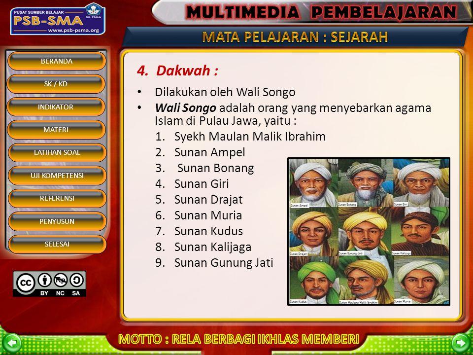 BERANDA SK / KD INDIKATOR MATERI REFERENSI PENYUSUN SELESAI LATIHAN SOAL UJI KOMPETENSI Dilakukan oleh Wali Songo Wali Songo adalah orang yang menyebarkan agama Islam di Pulau Jawa, yaitu : 1.Syekh Maulan Malik Ibrahim 2.Sunan Ampel 3.