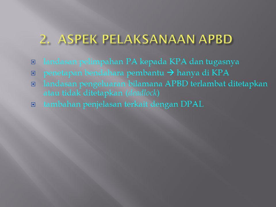  landasan pelimpahan PA kepada KPA dan tugasnya  penetapan bendahara pembantu  hanya di KPA  landasan pengeluaran bilamana APBD terlambat ditetapk