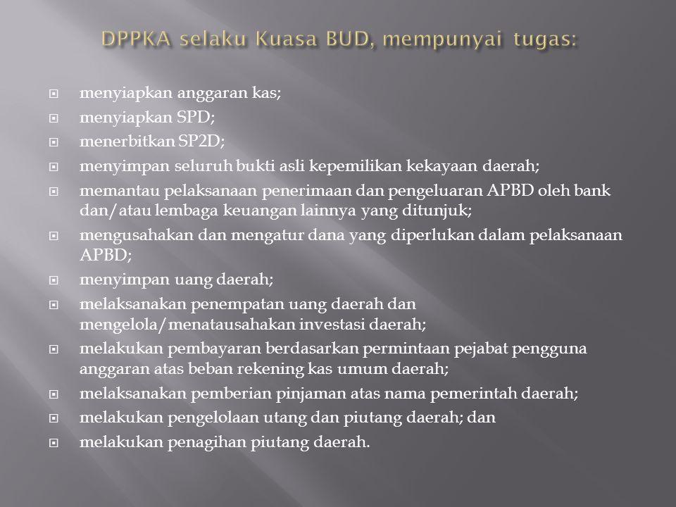  menyiapkan anggaran kas;  menyiapkan SPD;  menerbitkan SP2D;  menyimpan seluruh bukti asli kepemilikan kekayaan daerah;  memantau pelaksanaan pe