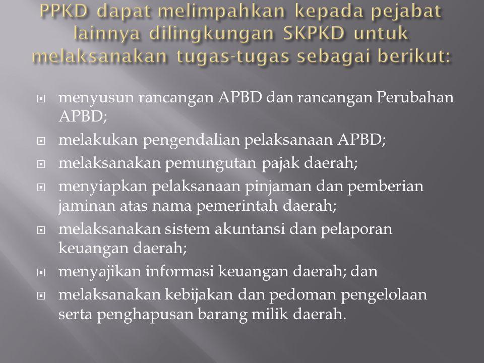  menyusun rancangan APBD dan rancangan Perubahan APBD;  melakukan pengendalian pelaksanaan APBD;  melaksanakan pemungutan pajak daerah;  menyiapka