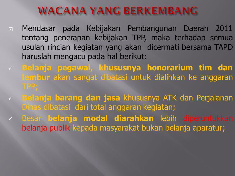  Mendasar pada Kebijakan Pembangunan Daerah 2011 tentang penerapan kebijakan TPP, maka terhadap semua usulan rincian kegiatan yang akan dicermati ber