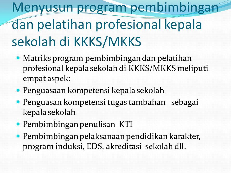 Menyusun program pembimbingan dan pelatihan profesional kepala sekolah di KKKS/MKKS Matriks program pembimbingan dan pelatihan profesional kepala seko