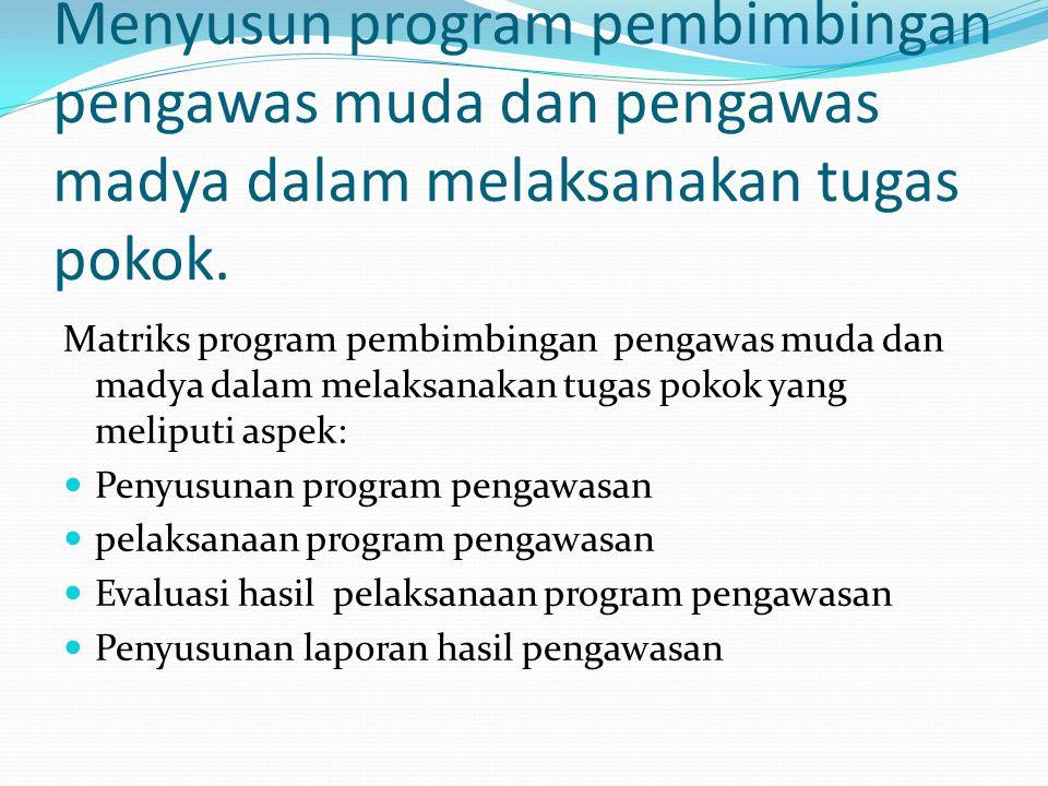 Menyusun program pembimbingan pengawas muda dan pengawas madya dalam melaksanakan tugas pokok. Matriks program pembimbingan pengawas muda dan madya da
