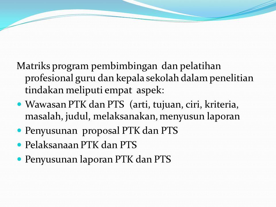 Matriks program pembimbingan dan pelatihan profesional guru dan kepala sekolah dalam penelitian tindakan meliputi empat aspek: Wawasan PTK dan PTS (ar