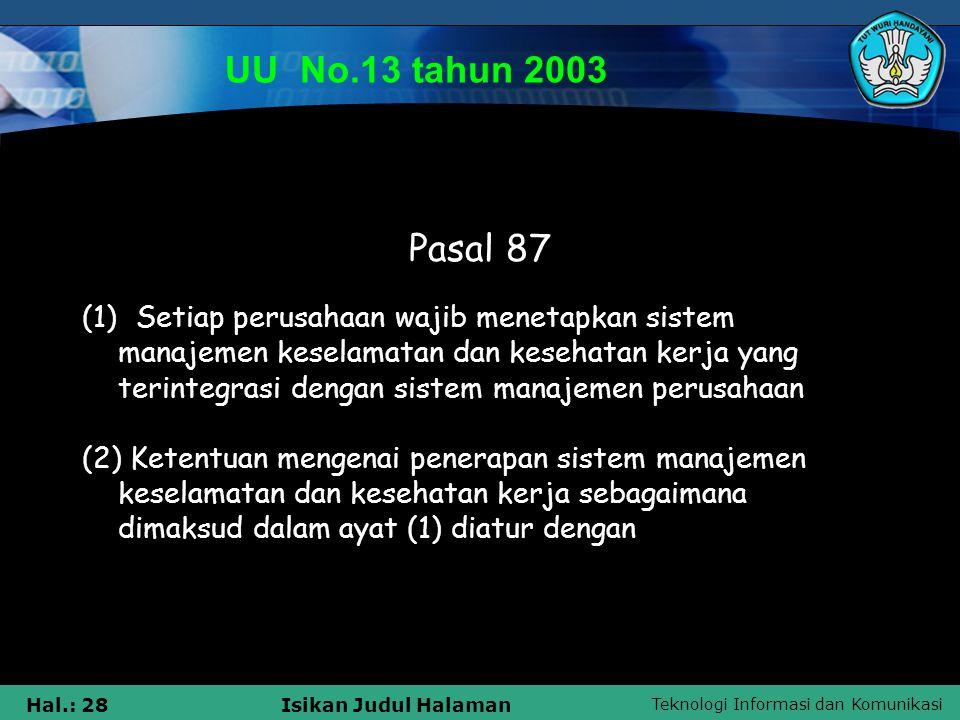 Teknologi Informasi dan Komunikasi Hal.: 28Isikan Judul Halaman UU No.13 tahun 2003 Pasal 87 (1) Setiap perusahaan wajib menetapkan sistem manajemen k