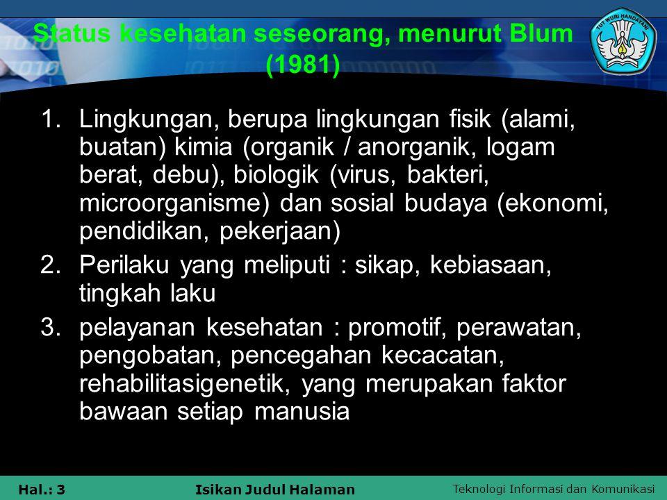 Teknologi Informasi dan Komunikasi Hal.: 3Isikan Judul Halaman Status kesehatan seseorang, menurut Blum (1981) 1.Lingkungan, berupa lingkungan fisik (