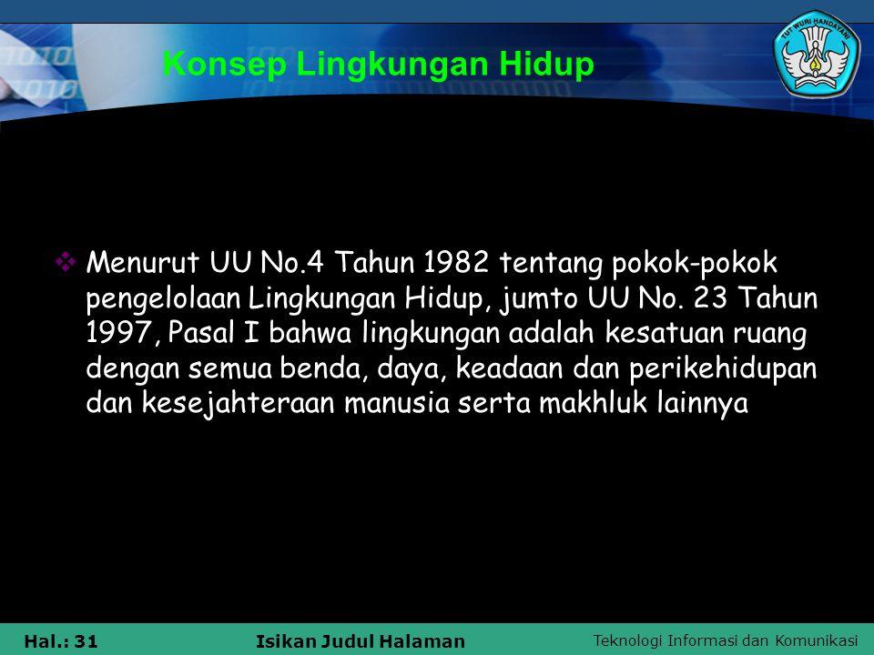 Teknologi Informasi dan Komunikasi Hal.: 31Isikan Judul Halaman Konsep Lingkungan Hidup  Menurut UU No.4 Tahun 1982 tentang pokok-pokok pengelolaan L