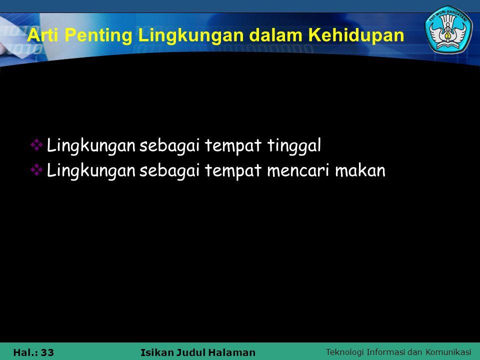 Teknologi Informasi dan Komunikasi Hal.: 33Isikan Judul Halaman Arti Penting Lingkungan dalam Kehidupan  Lingkungan sebagai tempat tinggal  Lingkung
