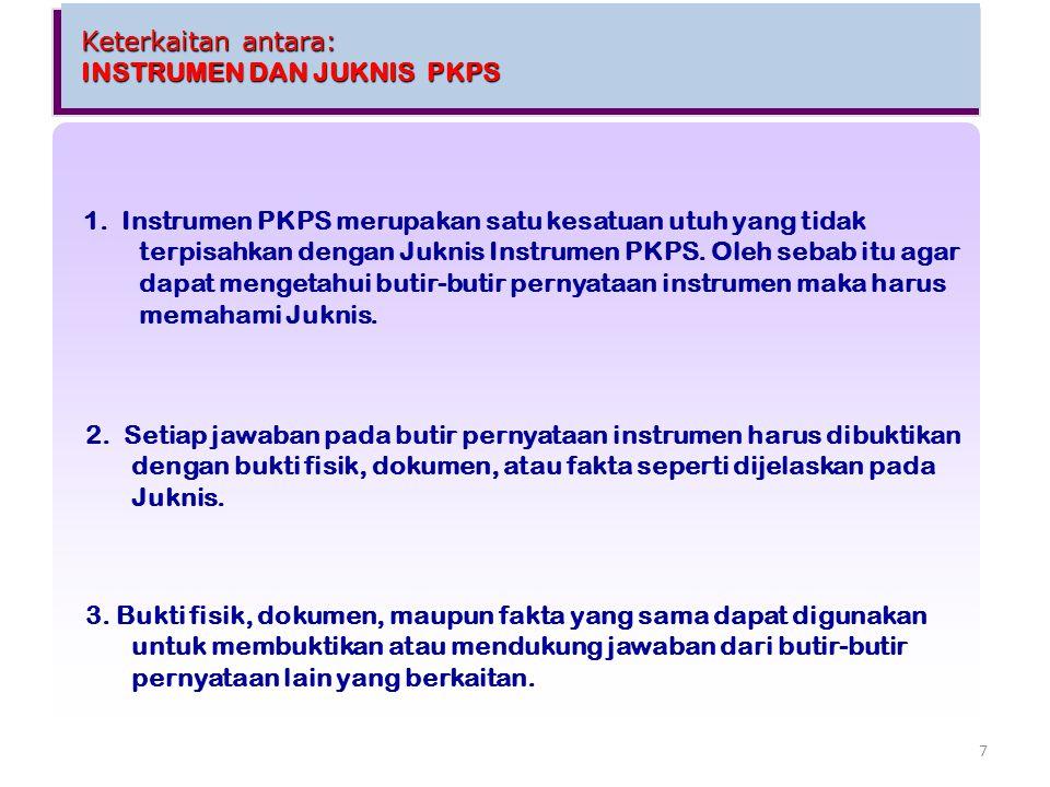 Keterkaitan antara: INSTRUMEN DAN JUKNIS PKPS Keterkaitan antara: INSTRUMEN DAN JUKNIS PKPS 2. Setiap jawaban pada butir pernyataan instrumen harus di
