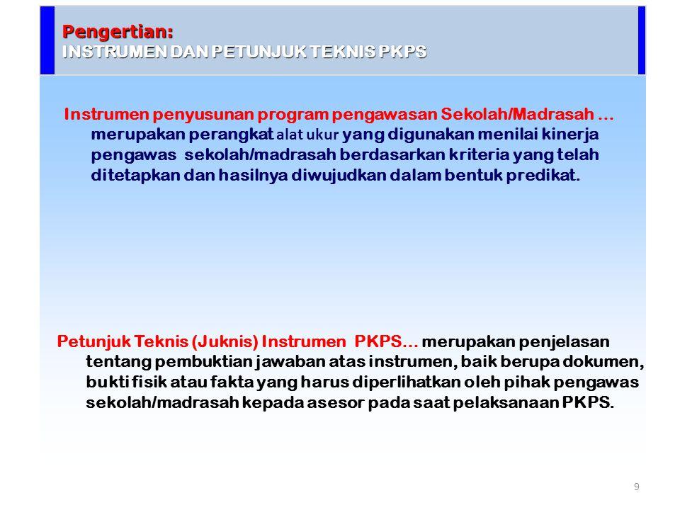 Pengertian: INSTRUMEN DAN PETUNJUK TEKNIS PKPS Petunjuk Teknis (Juknis) Instrumen PKPS… merupakan penjelasan tentang pembuktian jawaban atas instrumen