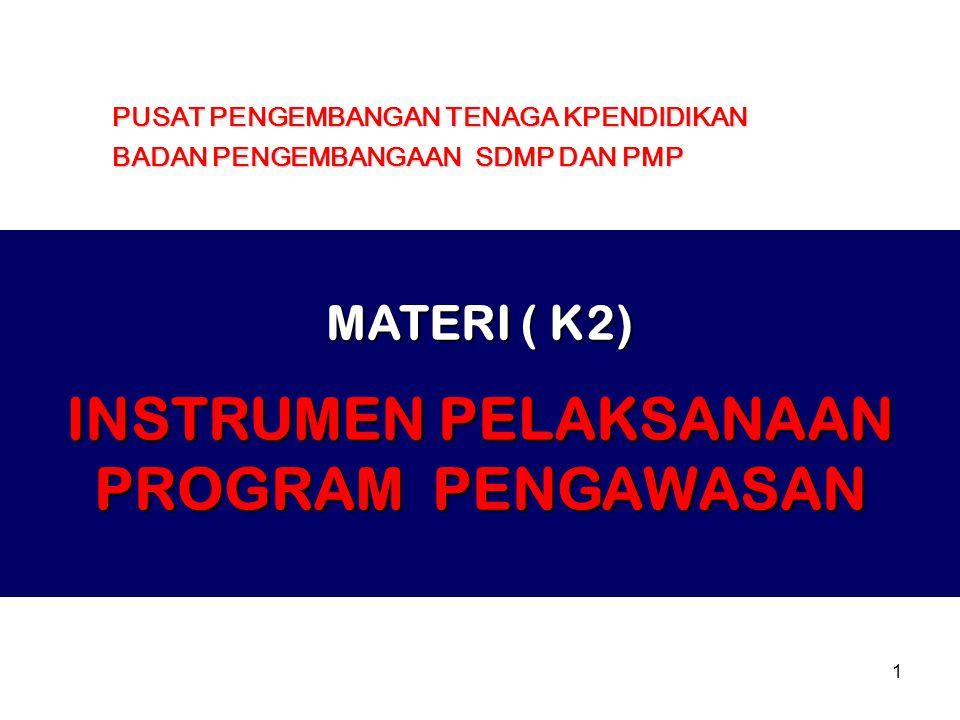 1 MATERI ( K2) INSTRUMEN PELAKSANAAN PROGRAM PENGAWASAN PUSAT PENGEMBANGAN TENAGA KPENDIDIKAN BADAN PENGEMBANGAAN SDMP DAN PMP