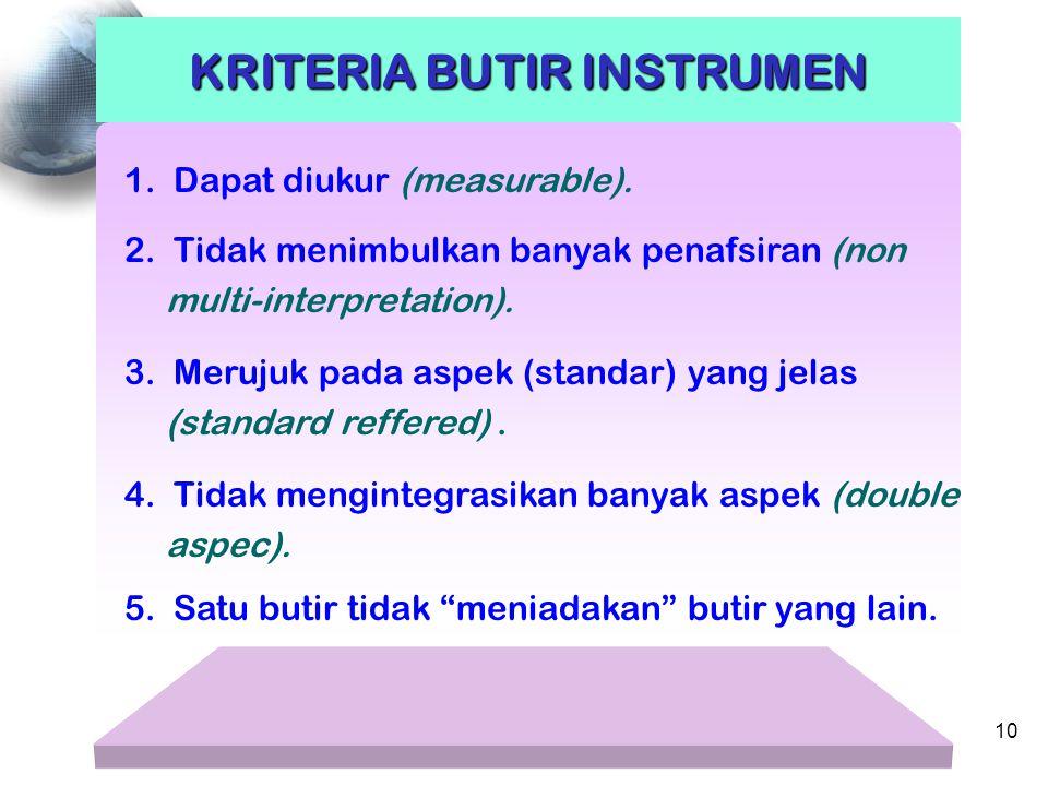 1. Dapat diukur (measurable). KRITERIA BUTIR INSTRUMEN 2. Tidak menimbulkan banyak penafsiran (non multi-interpretation). 3. Merujuk pada aspek (stand