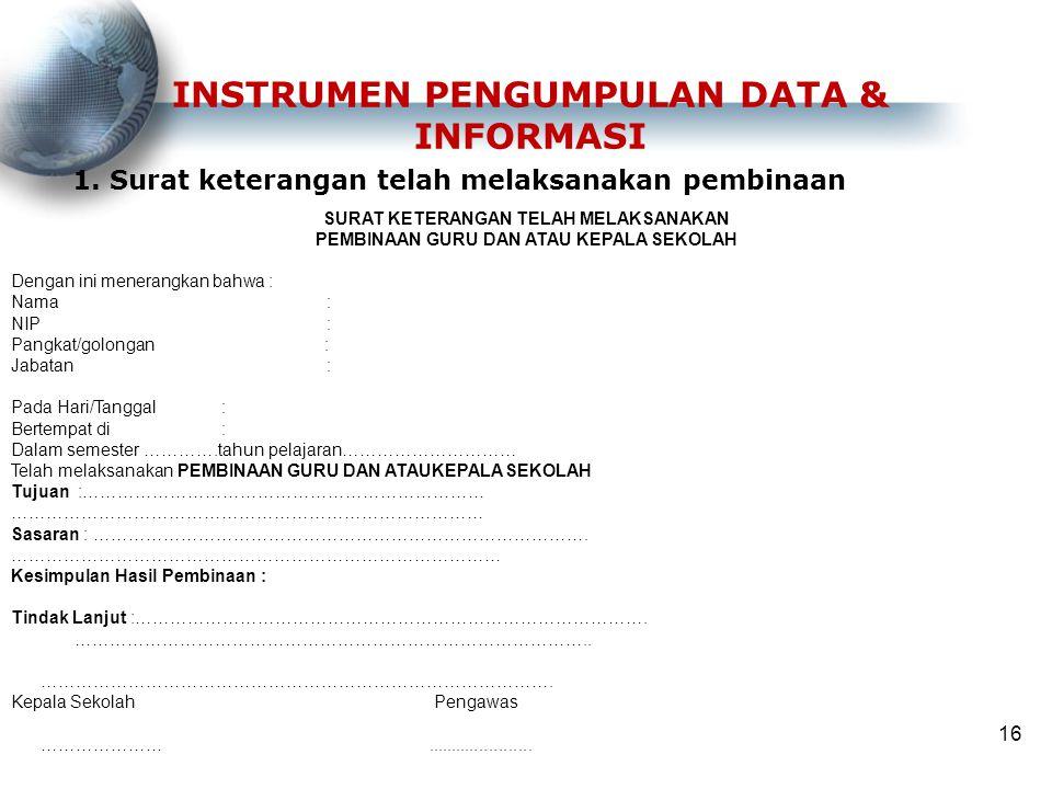 INSTRUMEN PENGUMPULAN DATA & INFORMASI 1. Surat keterangan telah melaksanakan pembinaan 16 SURAT KETERANGAN TELAH MELAKSANAKAN PEMBINAAN GURU DAN ATAU