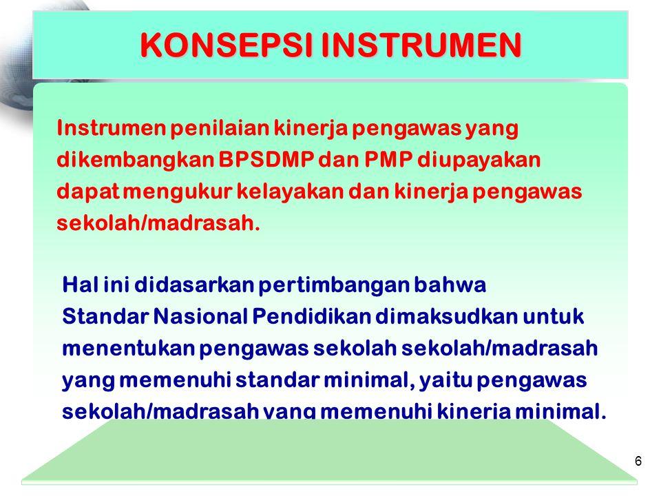 Instrumen penilaian kinerja pengawas yang dikembangkan BPSDMP dan PMP diupayakan dapat mengukur kelayakan dan kinerja pengawas sekolah/madrasah. KONSE