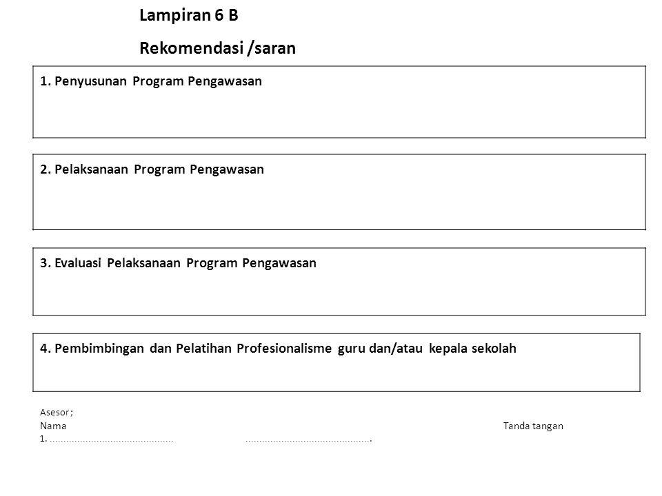 Lampiran 6 B Rekomendasi /saran 1. Penyusunan Program Pengawasan 2. Pelaksanaan Program Pengawasan 3. Evaluasi Pelaksanaan Program Pengawasan 4. Pembi