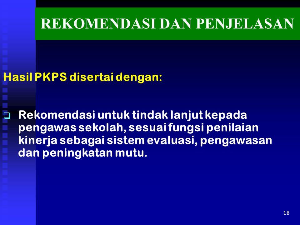 REKOMENDASI DAN PENJELASAN Hasil PKPS disertai dengan:   Rekomendasi untuk tindak lanjut kepada pengawas sekolah, sesuai fungsi penilaian kinerja se