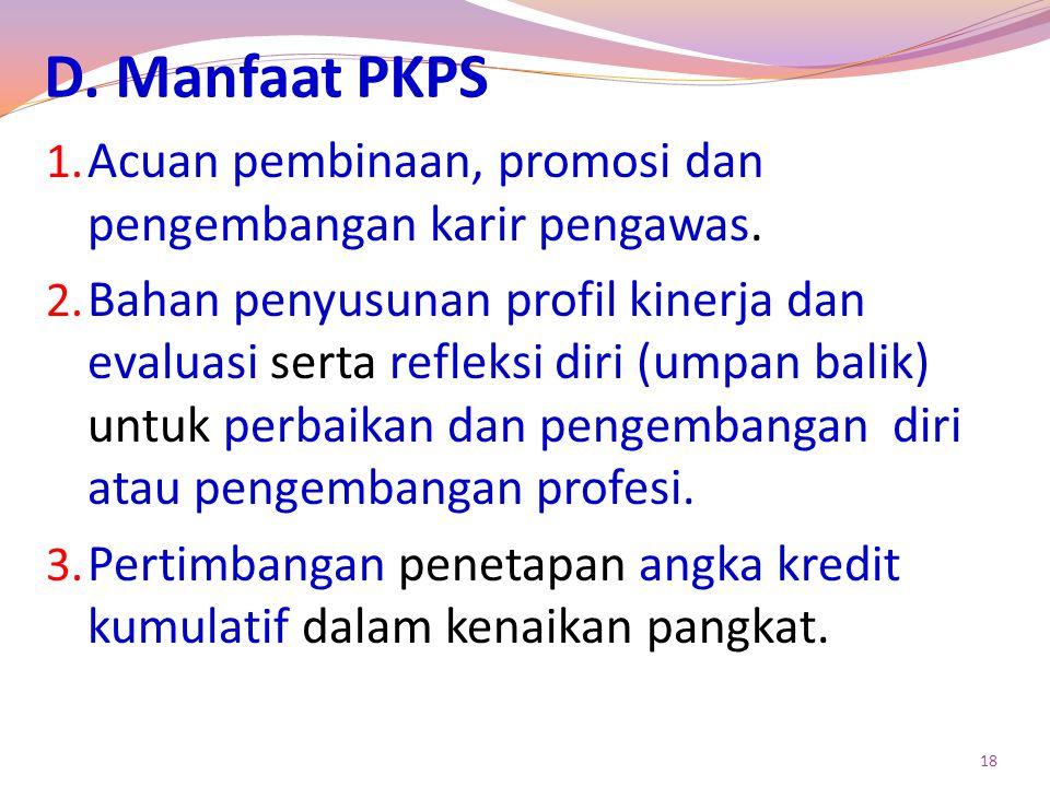 D.Manfaat PKPS 1. Acuan pembinaan, promosi dan pengembangan karir pengawas.