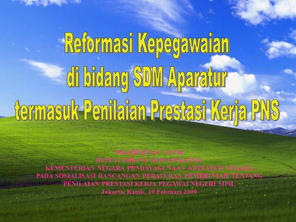 7 DISAMPAIKAN OLEH: DEPUTI BIDANG SDM APARATUR, KEMENTERIAN NEGARA PENDAYAGUNAAN APARATUR NEGARA PADA SOSIALISASI RANCANGAN PERATURAN PEMERINTAH TENTANG PENILAIAN PRESTASI KERJA PEGAWAI NEGERI SIPIL Jakarta, Kamis, 19 Februari 2009